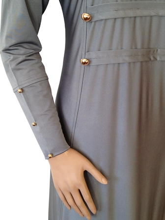 Grey Military Coat Style Abaya With Gold Buttons