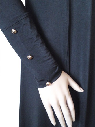 Modern Military Coat Style Abaya Polished Gold Buttons The