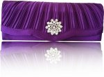 Purple Satin Star Diamante Clutch Bag With Detachable Chain