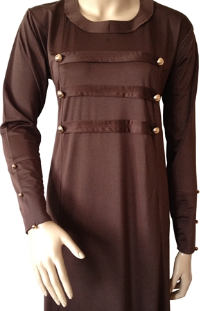 Brown Military Coat Style Abaya With Gold Buttons - Click Image to Close