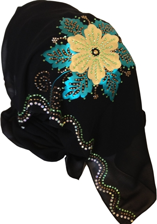 Teal And Yellow Floral Motif Shayla With Diamante Stones - Click Image to Close
