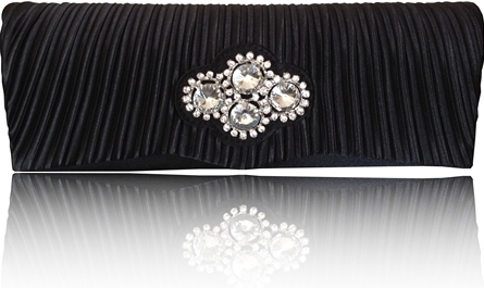 Black Satin Diamante Clutch Bag With Detachable Chain - Click Image to Close