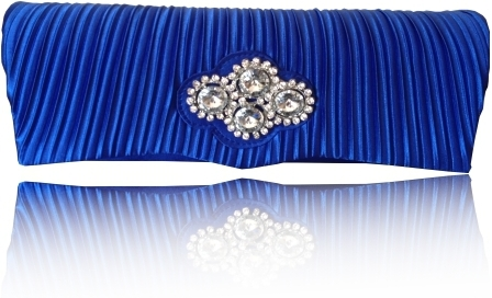 Blue Satin Diamante Clutch Bag With Detachable Chain - Click Image to Close