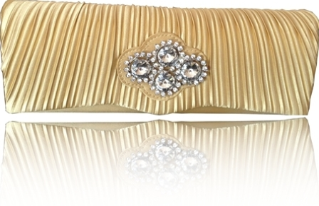 Gold Satin Diamante Clutch Bag With Detachable Chain - Click Image to Close