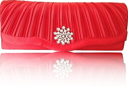 Red satin clutch bag