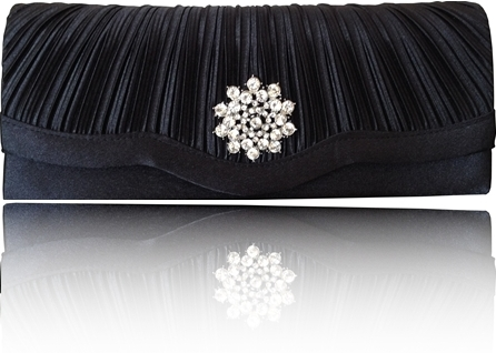 Black satin diamante clutch bag