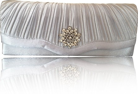 silver satin diamante clutch bag