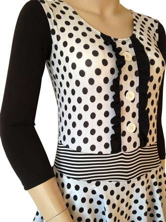 black polka dot islamic swim suit side view