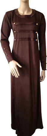 Brown military coat abaya full view