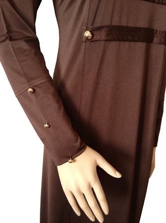 Brown military coat abaya sleeve view