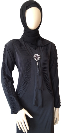 Dress Abaya With Gathered Detail And Diamante Rose Tie side view