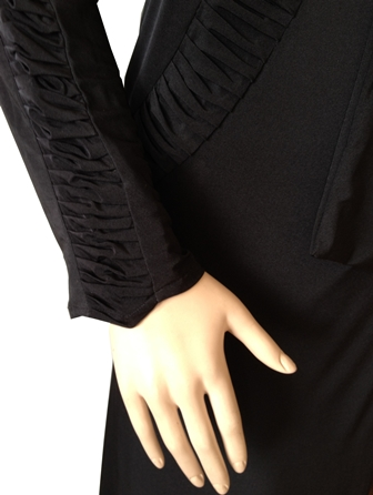 Dress Abaya With Gathered Detail And Diamante Rose Tie sleeve view