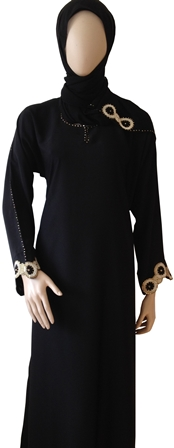 Abaya with crystal stone full view