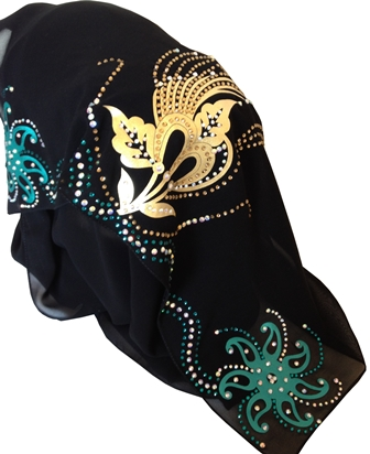 gold and teal shayla back view