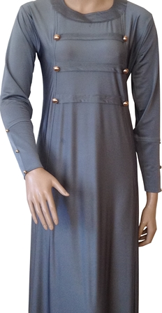 grey military abaya half view