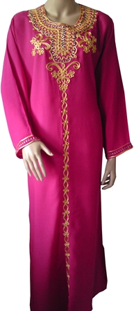 Pink embroidered kaftan full view