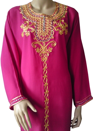 Pink embroidered kaftan half view