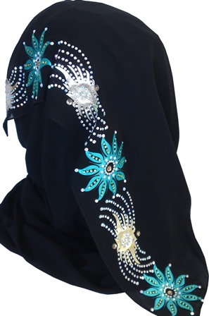 teal and gold black shayla back view