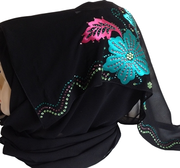 Teal floral motif shayla side view
