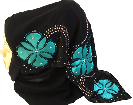 Teal floral motif shayla back view