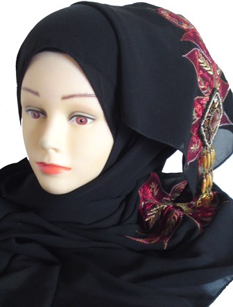 Black shayla with red motif front