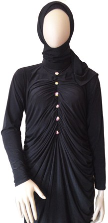 dress abaya with pleat detail half view
