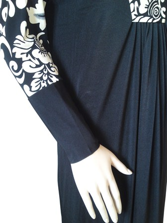 cream floral abaya sleeve view